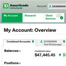 Ameritrade My Account screen